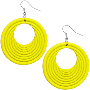 Yellow Wooden Circular Roll Texture Dangle Earrings