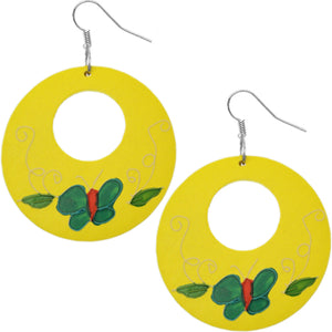 Yellow Wooden Hand Painted Butterfly Earrings