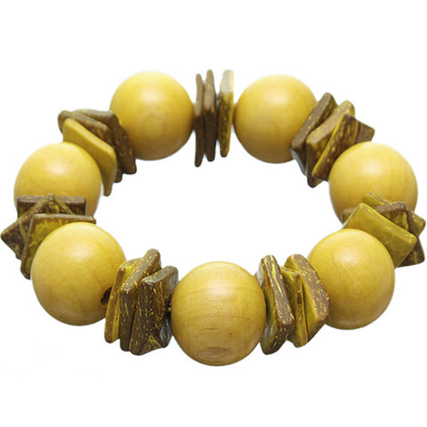 Yellow Round Wooden Bead Stretch Bracelet