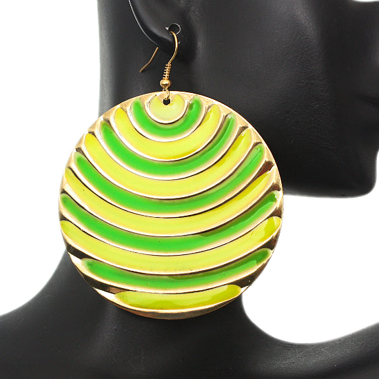 Yellow Striped Earrings