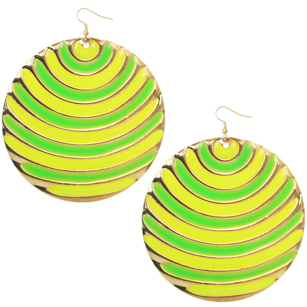 Green Yellow Striped Earrings