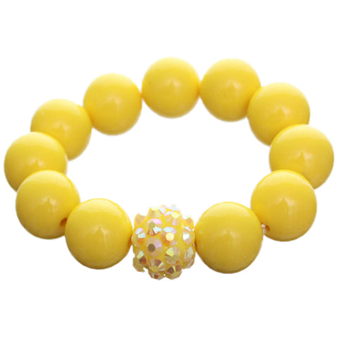 Yellow Large Fireball Beaded Stretch Bracelet