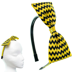 Yellow Zigzag Chevron Ribbon Bow Headband