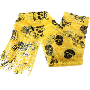 Yellow Lightweight 3 in 1 Toxic Skull Sheer Scarf