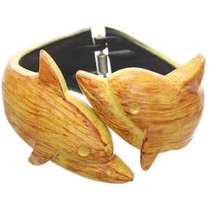 Yellow Dolphin Textured Hinged Bracelet