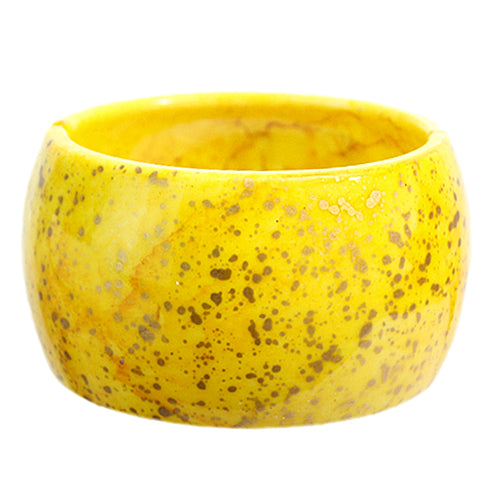 Yellow Spotted Round Hinged Bracelet
