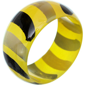Yellow Painted Striped Bangle Bracelet