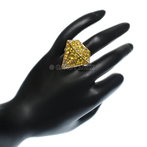 Yellow Diamond Shaped Rhinestone Adjustable Ring