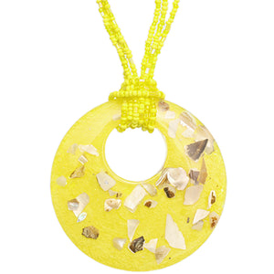 Yellow Open Circle Faux Marble Beaded Necklace Set