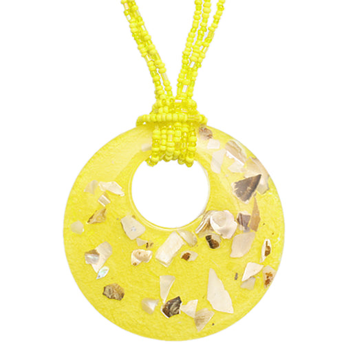 f77b675aa004c Yellow Open Circle Faux Marble Beaded Necklace Set