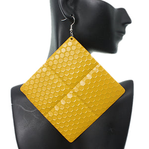 Yellow Oversized Hammered Honeycomb Pyramid Earrings