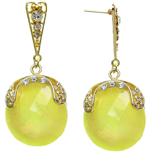 Yellow Iridescent Large Gemstone Post Earrings