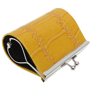 Yellow Glossy Faux Leather Kisslock Coin Purse