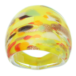Yellow Multicolor Speckled Glass Murano Ring