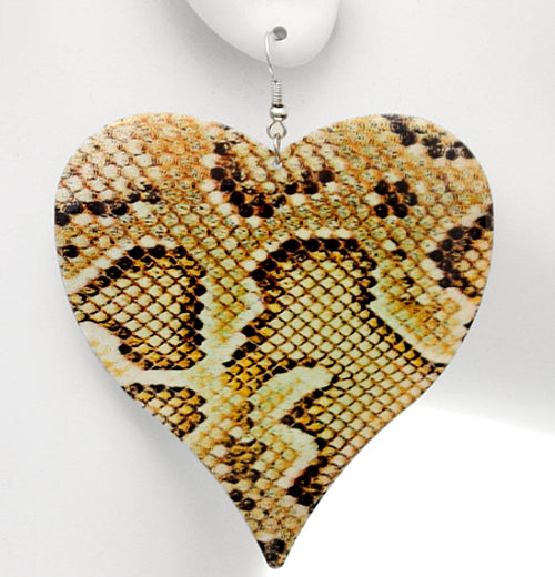 Yellow Snakeskin Heart Earrings