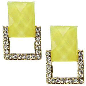 Yellow Square Gemstone Post Earrings