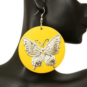 Yellow Silver Wooden Butterfly Dangle Earrings