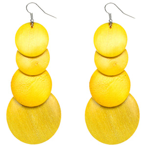 Yellow Wooden Round Disc Cascade Earrings