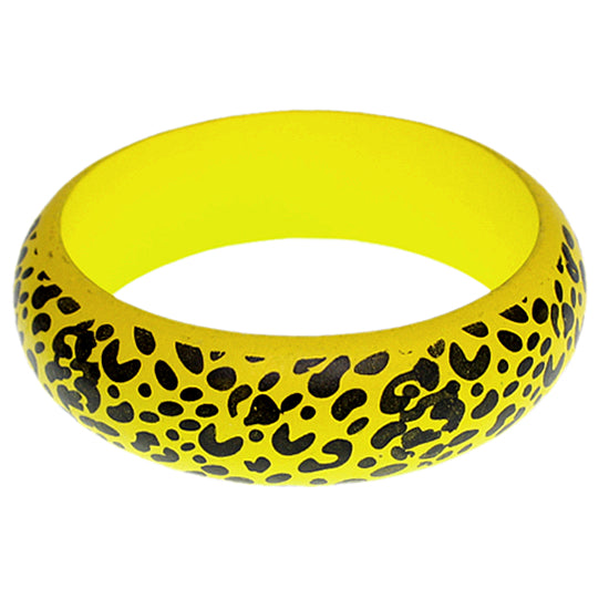 Yellow Oversized Wooden Cheetah Bangle Bracelet
