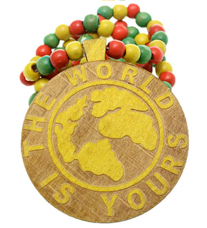 Yellow Wooden The World Is Yours Beaded Necklace