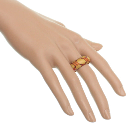 Manilla Orange Wooden Bohemian Ring
