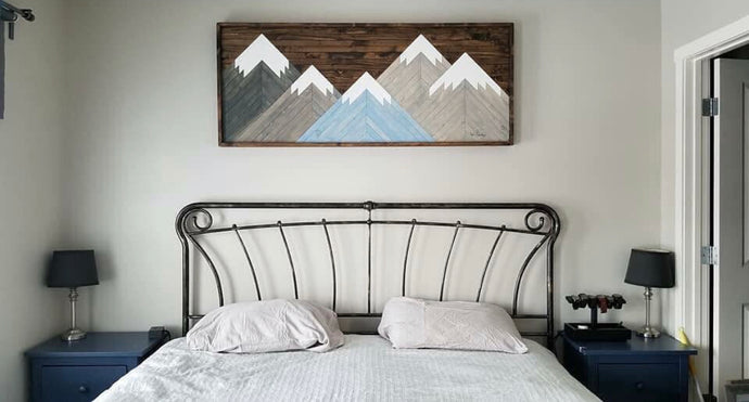 Hint of Blue Mountain Wood Art 5 x 2 FEET