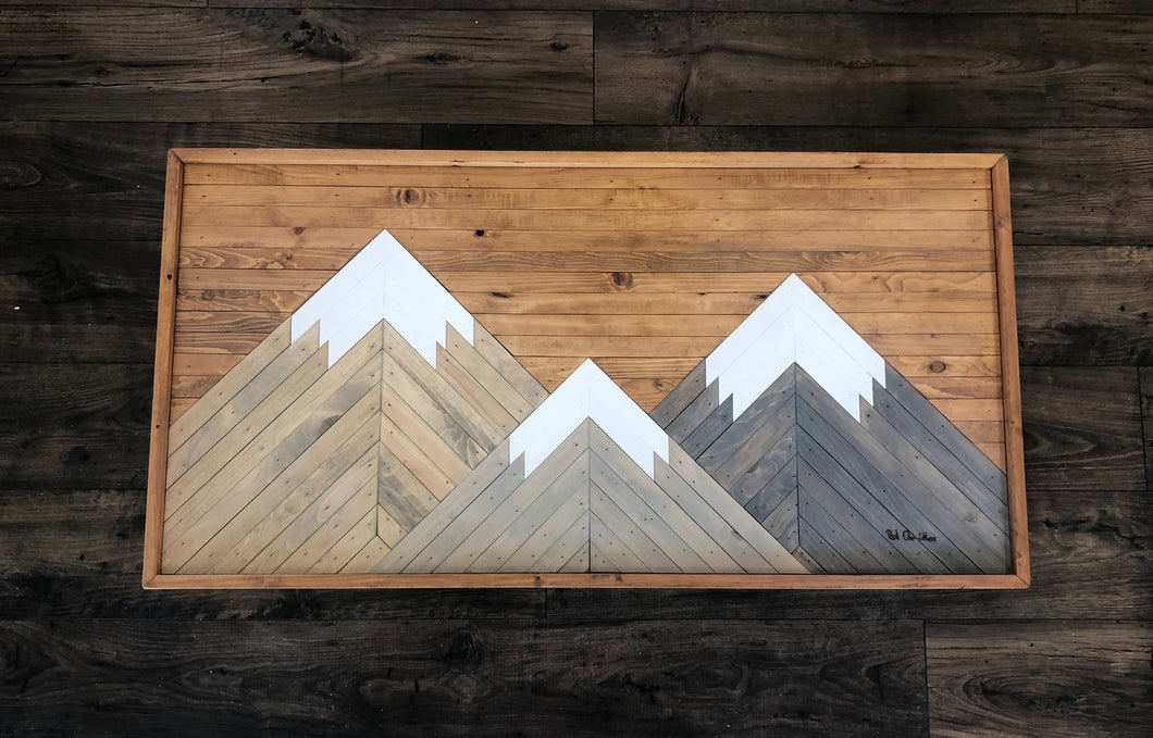 Three Sisters Mountains in Provincial Wood 4 x 2 FEET
