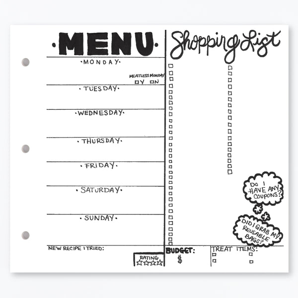 MENU + SHOPPING LIST