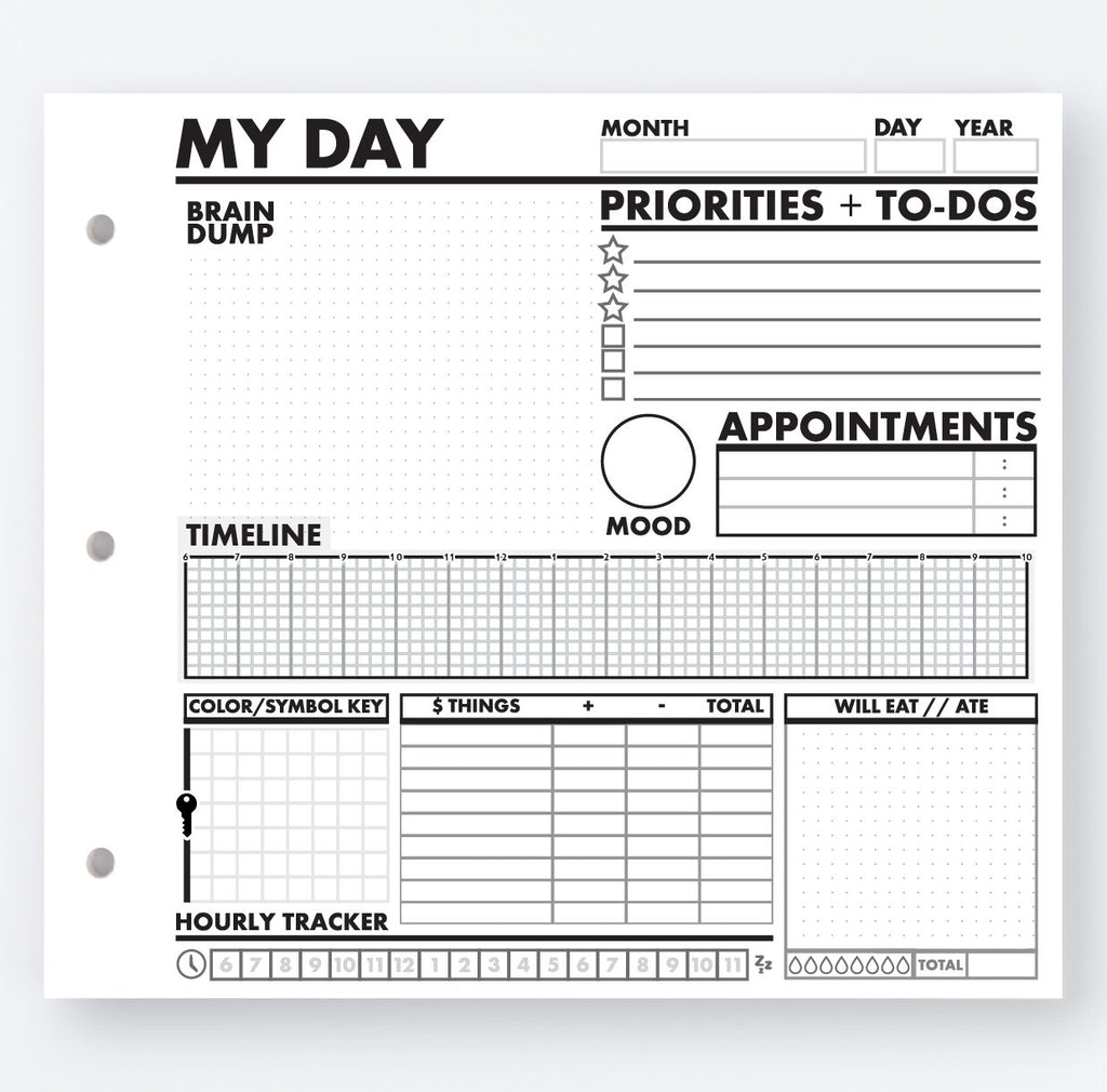 image relating to Brain Dump Worksheet referred to as MY Working day