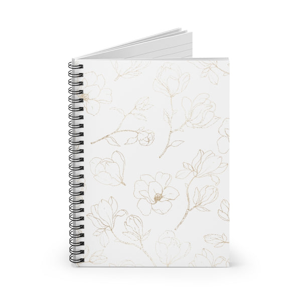 Golden Magnolia Spiral Notebook