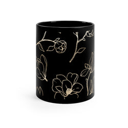 Golden Magnolia Black Mug