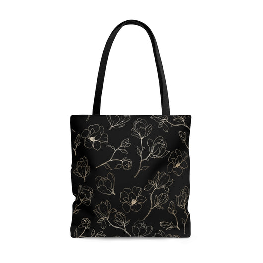 Golden Magnolia Tote Bag - Black
