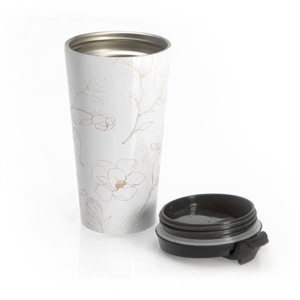 Golden Magnolia Stainless Steel Travel Mug