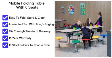 Rectangular Mobile Folding Table With 8 Seats