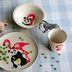 Kids dinner set with panda and flamingo