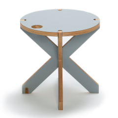 unique wooden stool side table in light gray