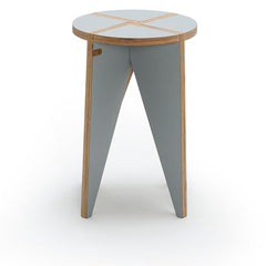 wooden stool side table with long triangular legs pewter