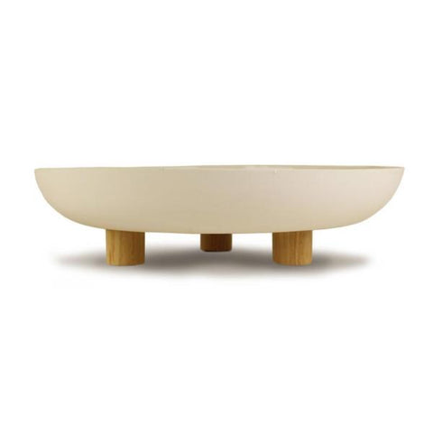 HANDMADE BOWL - 33 WITH WOODEN LEGS - Uniek Living