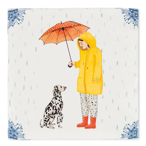 ITS RAINING DOGS - ART TILE - Uniek Living