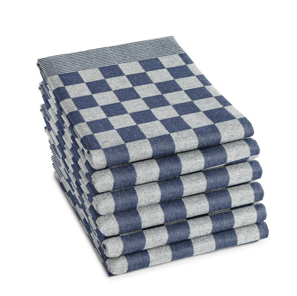 A stack of six blue checkered BBQ tea towels by DDDDD.