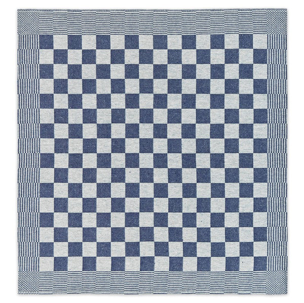 Top view of a blue checkered BBQ Tea Towel by DDDDD.