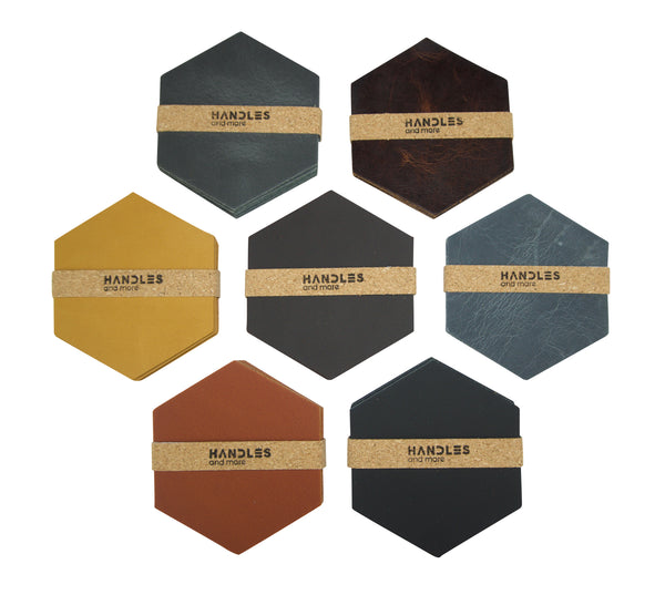 LEATHER COASTER - SET OF 6 - Uniek Living