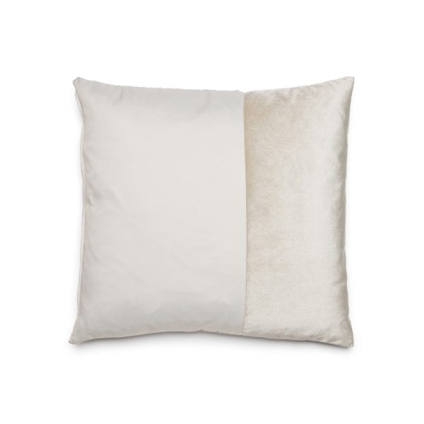 White Duo pillow by ONTWERPDUO showing two tone sides in velvet and satin.