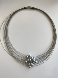 NECKLACE - 15 SMALL METAL BALLS - GREYS ONLY