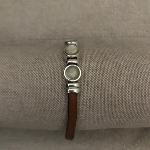 """TESS"" - BRACELET - BROWN LEATHER - Uniek Living"