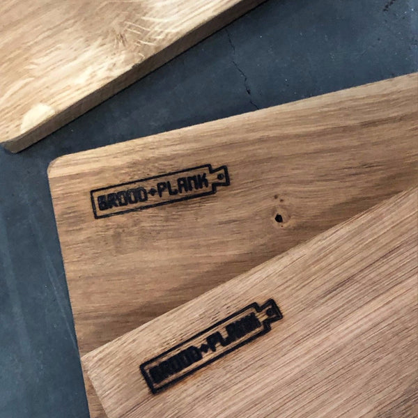 Closeup of Brood + Plank mark on the Mare Cutting Board.