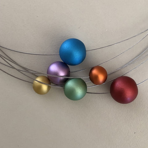 NECKLACE - 6 METAL BALLS - MULTI COLORED