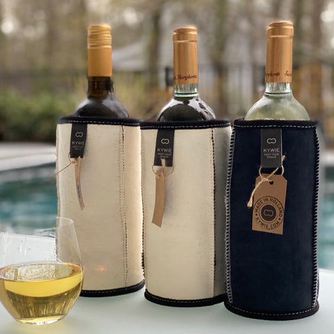 SUEDE WINE COOLER - 100% NATURAL SHEEPSKIN