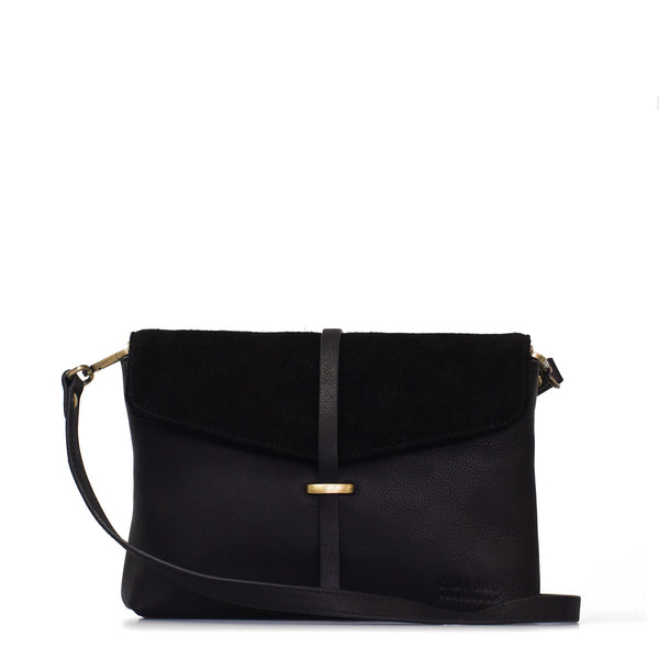 The Ella Midi Bag by O My Bag in Midnight Black against a white backdrop.