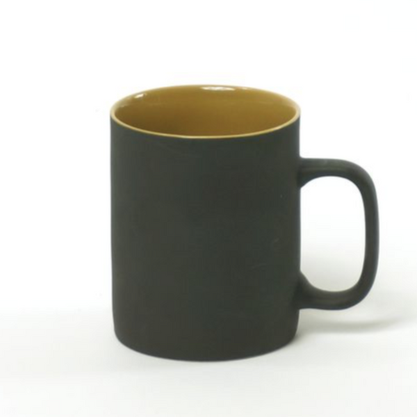 CUP - CUP L CER CYL 350ML MAT BLACK W/BLUE OR MUSTARD - LARGE